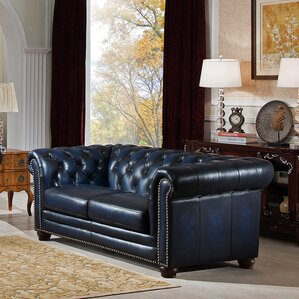 Nebraska Leather Chesterfield Loveseat by Amax