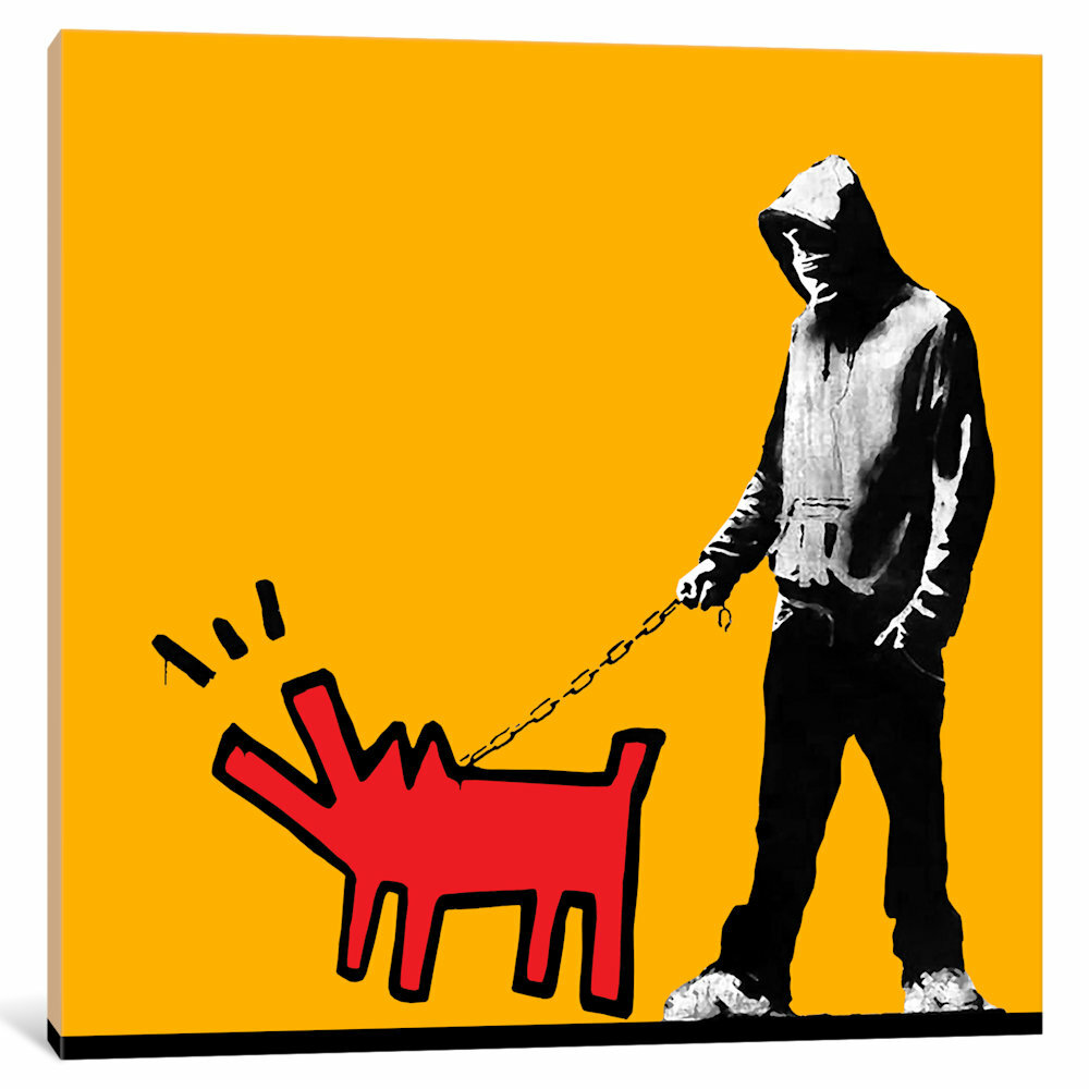iCanvas Choose Your Weapon Keith Haring Dog by Banksy Graphic Art on ...