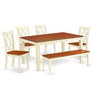 Laforce 6 Piece Extendable Solid Wood Breakfast Nook Dining Set