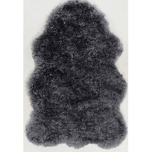 Peridot Faux Lamb Skin Hand-Tufted Gray Area Rug