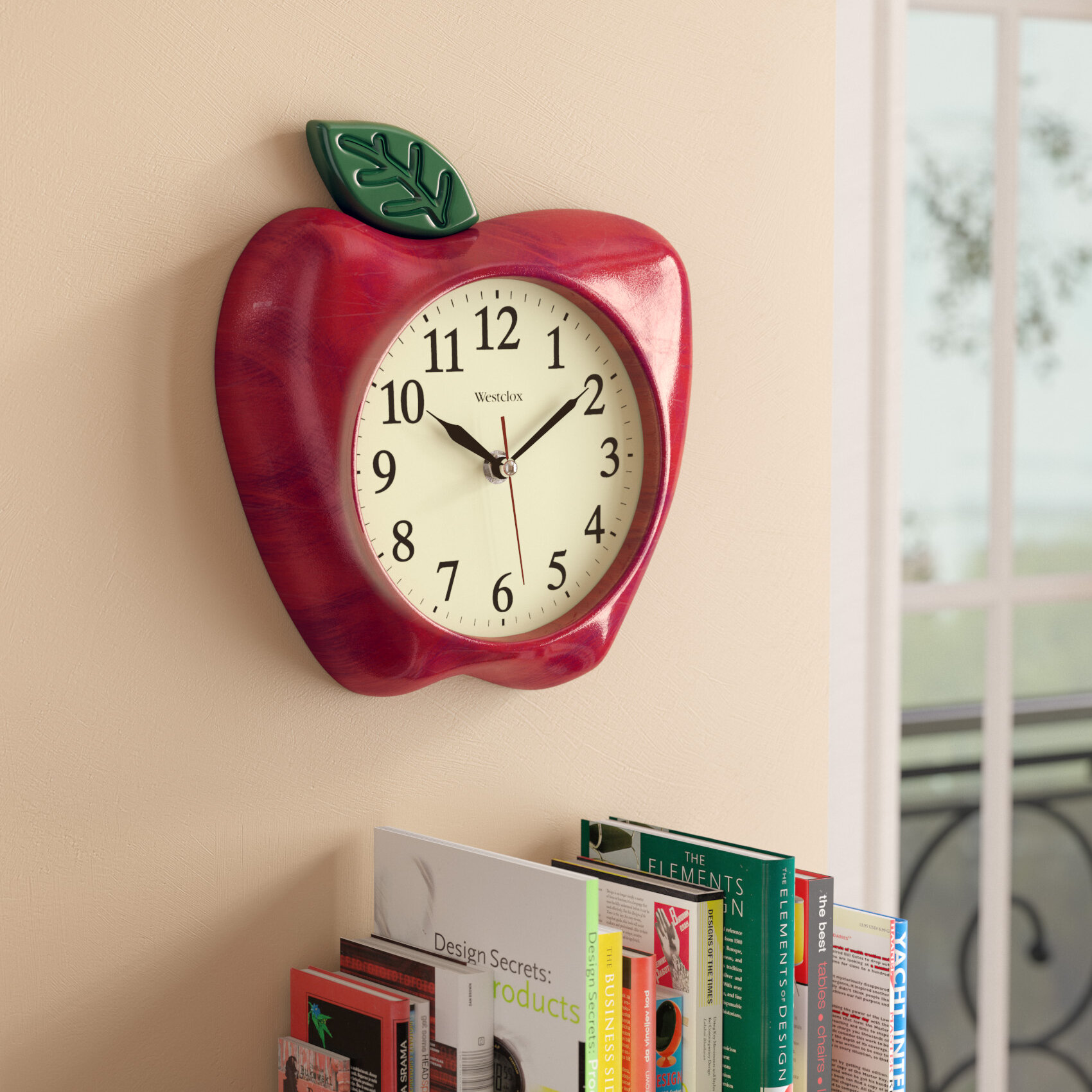 Three Posts 10 3d Red Apple Wall Clock Reviews Wayfair