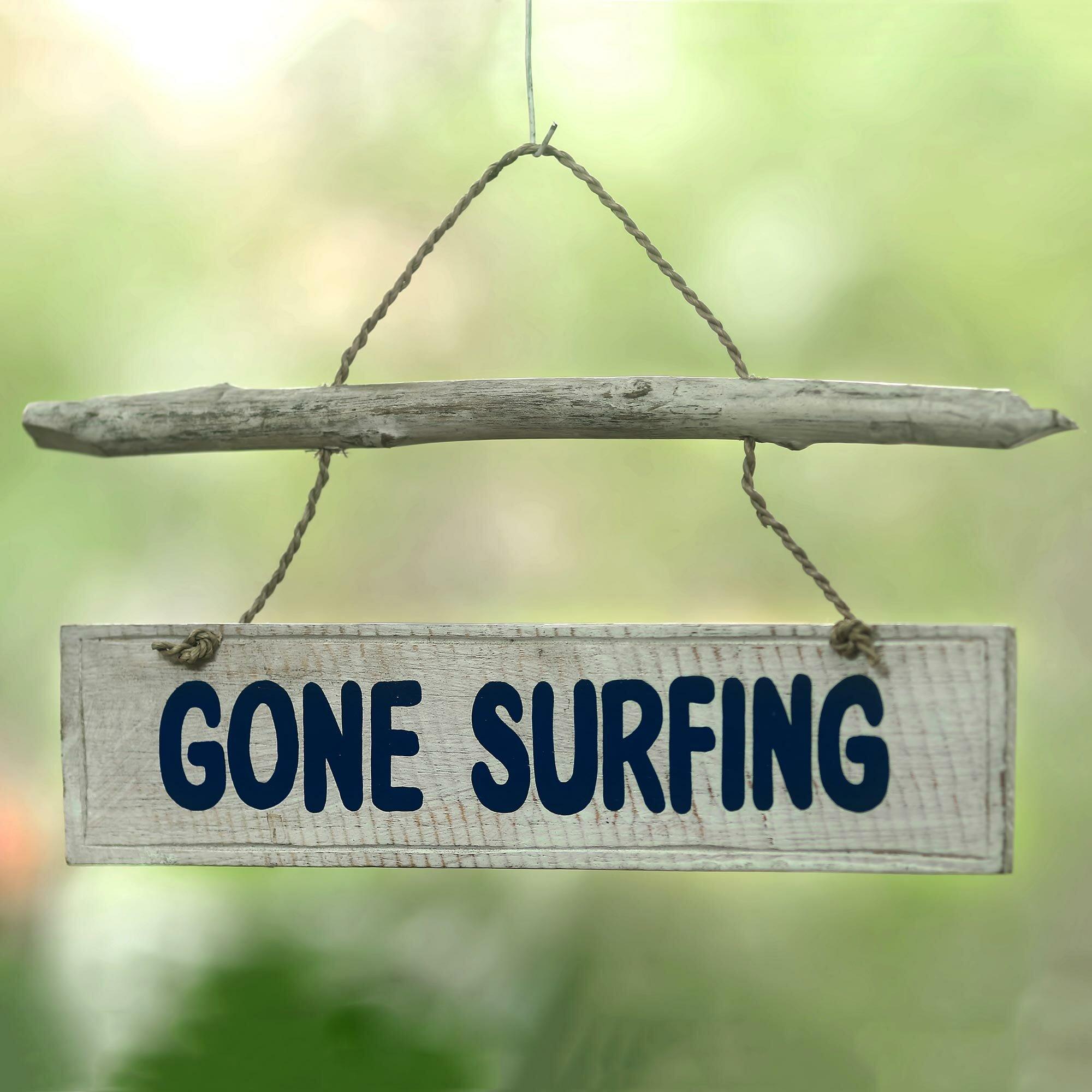 Highland Dunes Gone Surfing Wood Sign Wall Décor | Wayfair
