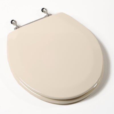 Comfort Seats Deluxe Molded Wood Round Toilet Seat Finish: Bone, Hinge Finish: Brushed Nickel