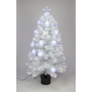3 white iridescent fiber optic artificial christmas tree