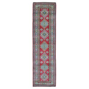 Evan Kazak Oriental Hand-Woven Rectangle Wool Red Area Rug