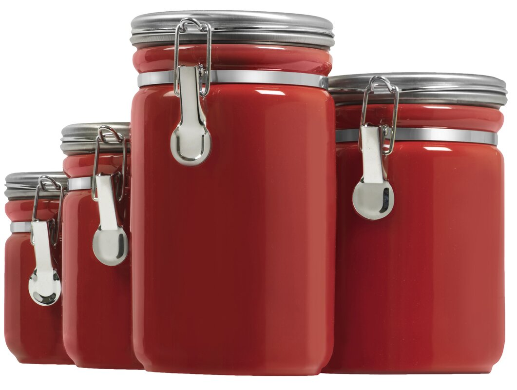 anchor hocking 4 piece kitchen canister set u0026 reviews wayfair