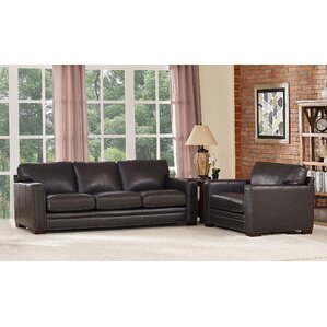 Neil Traditional Leather 2 Piece Living Room..