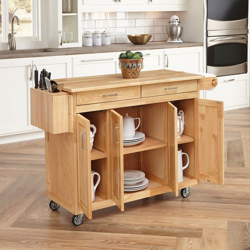 August Grove Epping Kitchen Island with Wood Top & Reviews | Wayfair