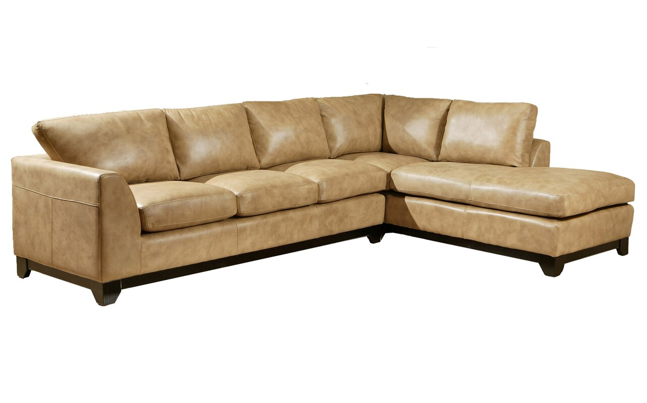 Omnia Leather City Sleek Leather Sectional Amp Reviews Wayfair