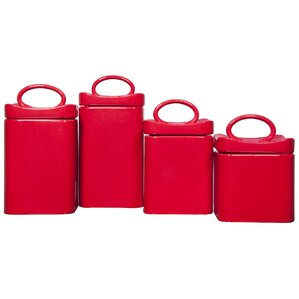 Wavy Square 4 Piece Kitchen Canister Set. Red