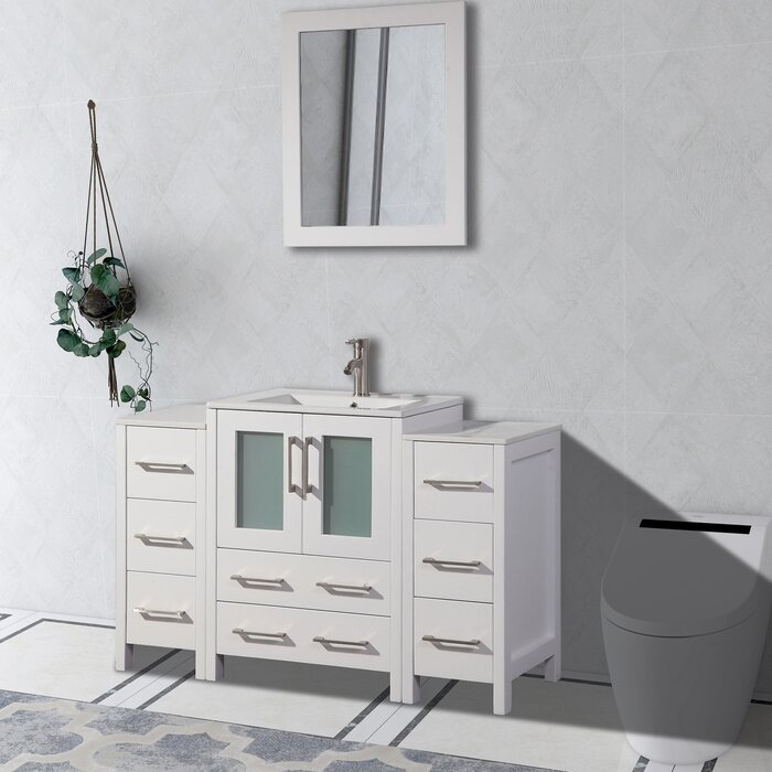 Pleasant Karson Framed 48 Single Bathroom Vanity Set With Mirror Download Free Architecture Designs Ferenbritishbridgeorg