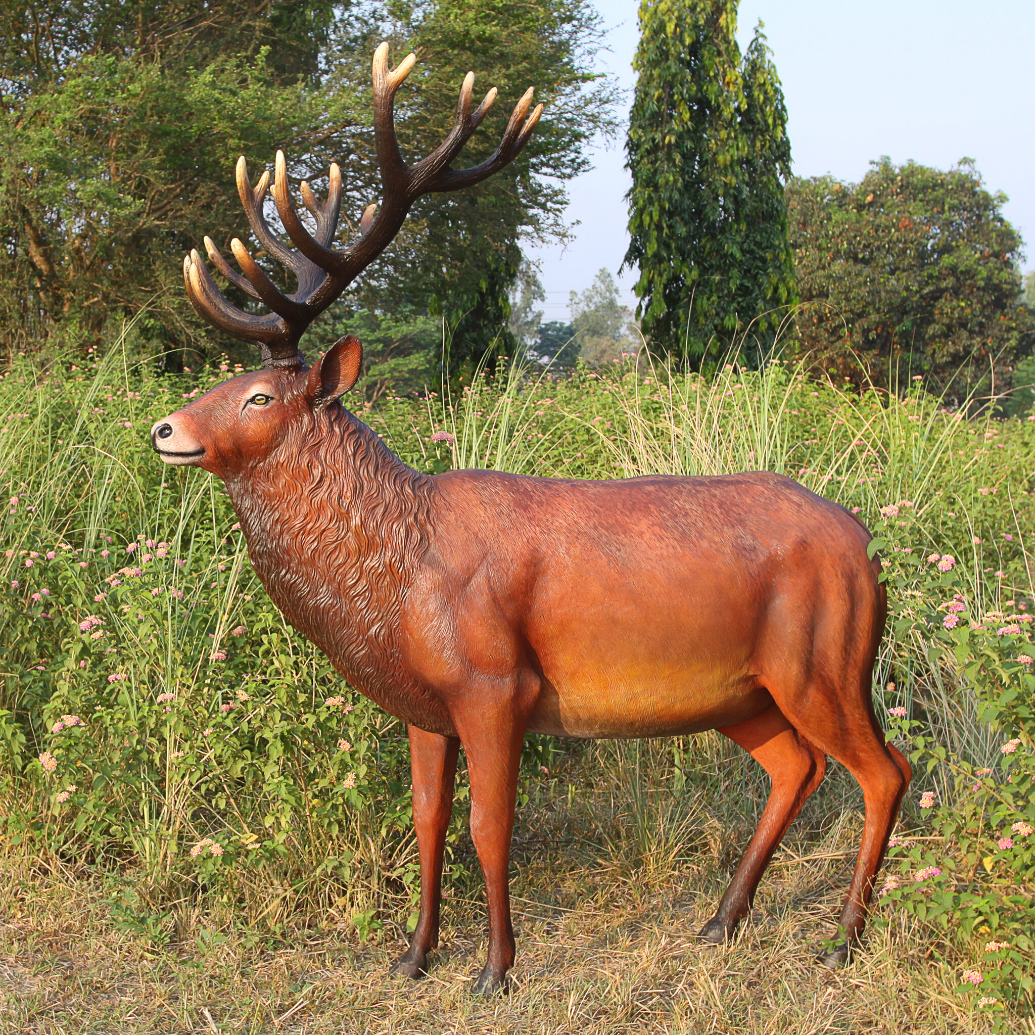 statues size outdoor fiberglass life buy decor statue material product deer decoration