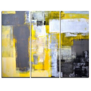 Grey and Yellow Blur Abstract - 3 Piece Painting Print on Wrapped Canvas Set
