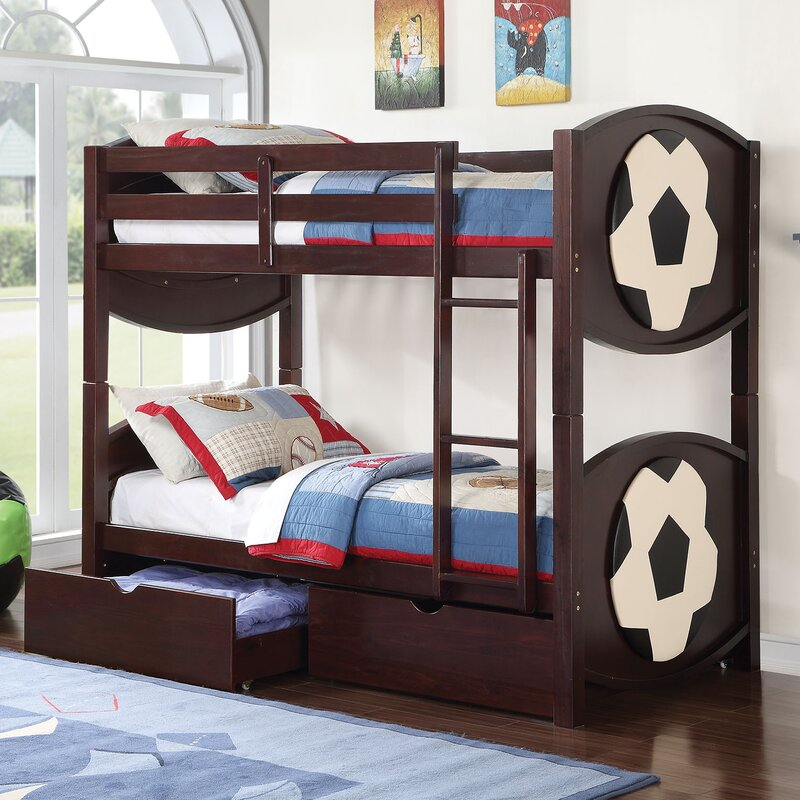 Superb All Star Soccer Twin Over Twin Bunk Bed With Storage
