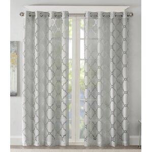 Breckenridge Fretwork Burnout Geometric Sheer Single Curtain Panel Part 66