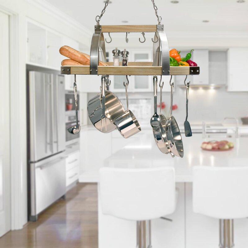 17 Stories 2 Light Kitchen Wood Pot Rack & Reviews | Wayfair