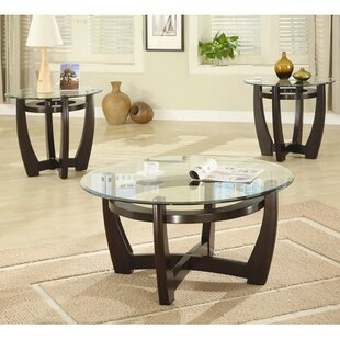 Marvelous High West 3 Piece Coffee Table With Glass Top Set