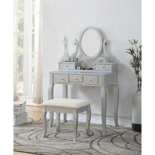 Silver Bedroom & Makeup Vanities You\'ll Love | Wayfair