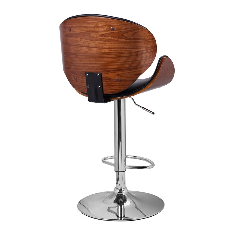 Superieur Bentwood Leather Adjustable Height Swivel Bar Stool