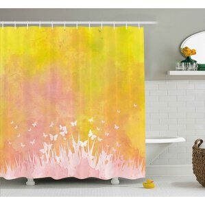 grass and butterfly shower curtain
