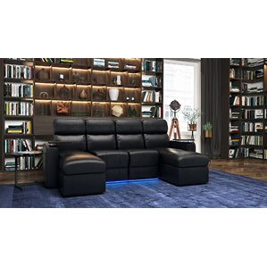 Contemporary Upholstered Leather Home Theater Sofa (Row of 4) by Red Barrel Studio