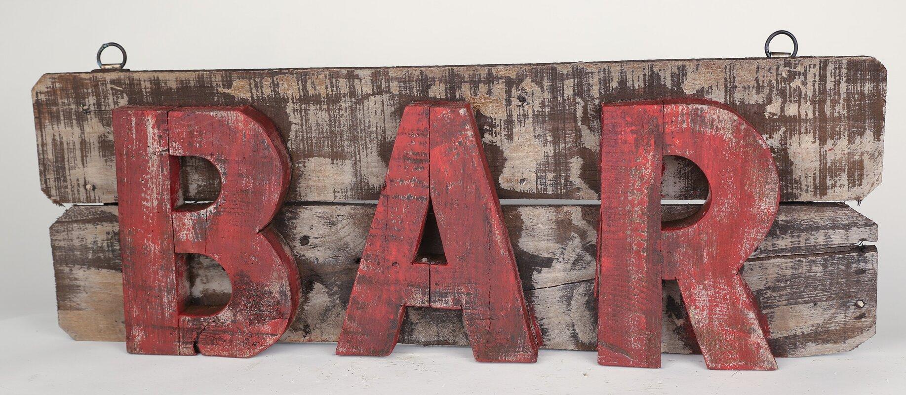 Bar Wall Decor myamigosimports rustic wooden bar sign wall decor & reviews | wayfair