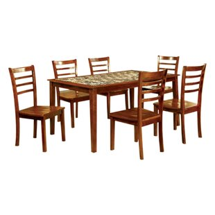 Washam Wooden 7 Piece Counter Height Dining Table Set