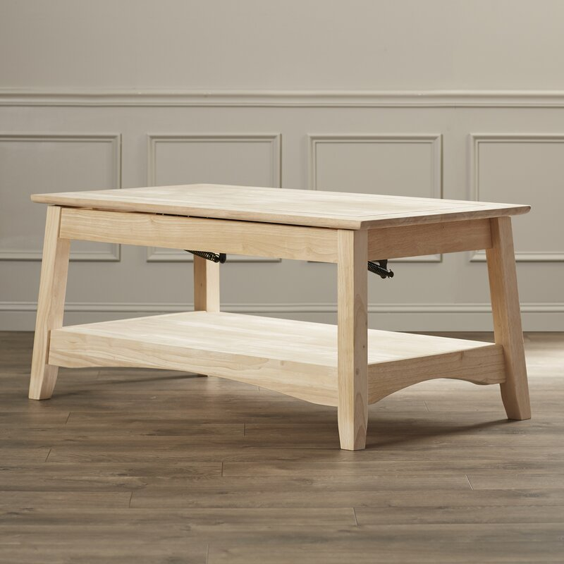 Unfinished Wood Ay Coffee Table With Lift Top