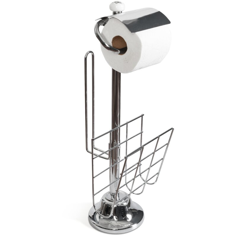 Freestanding Toilet Paper Holder and Stand with Magazine Rack
