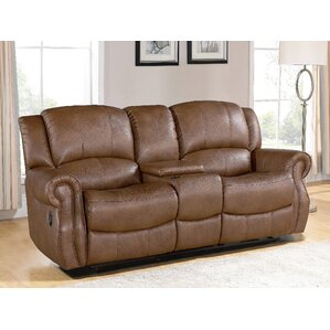 Baynes Leather Reclining Sofa by Darby Home Co