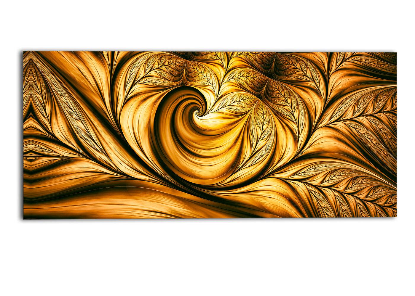DesignArt Golden Dream Abstract Graphic Art on Wrapped Canvas | Wayfair