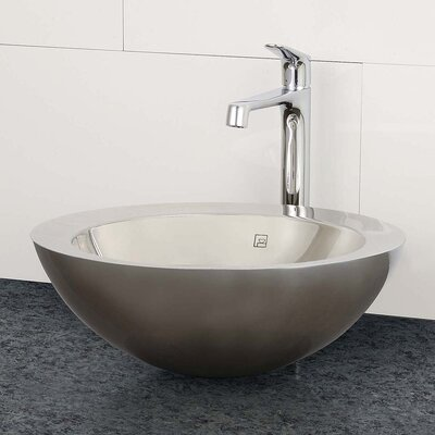 Simply Stainless Double Walled Circular Vessel Bathroom Sink With Overflow