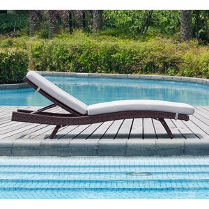 Prudence Reclining Patio Chaise Lounge with Cushion