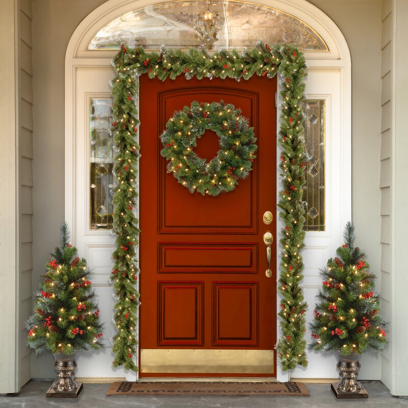 Hgtv Front Door Fall Decorations: Three Posts Spruce Pre-Lit Wreath With Clear Lights