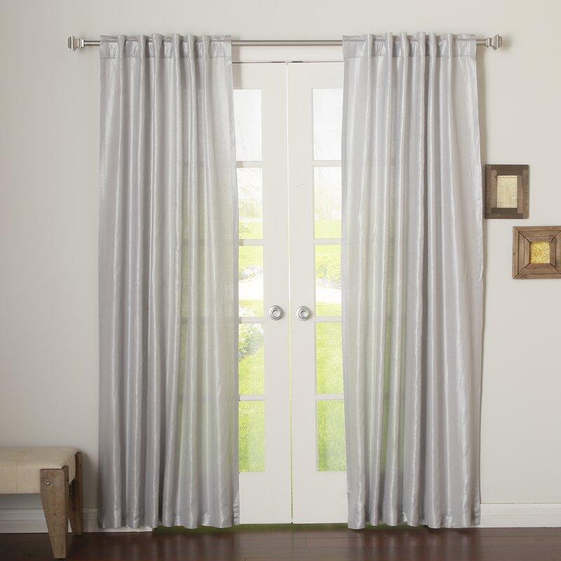 Metallic Shimmer Linen Blend Solid Blackout Grommet Curtain Panels
