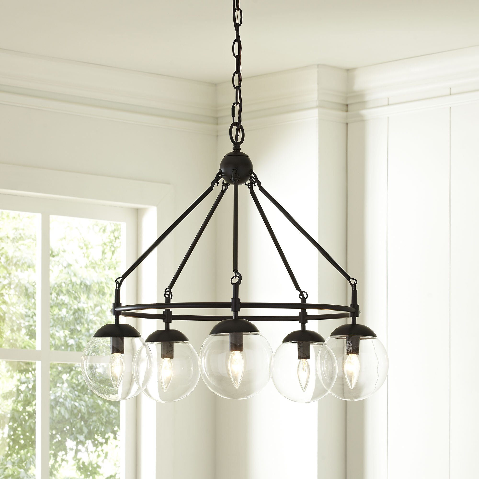 Cranston 5 light wagon wheel chandelier