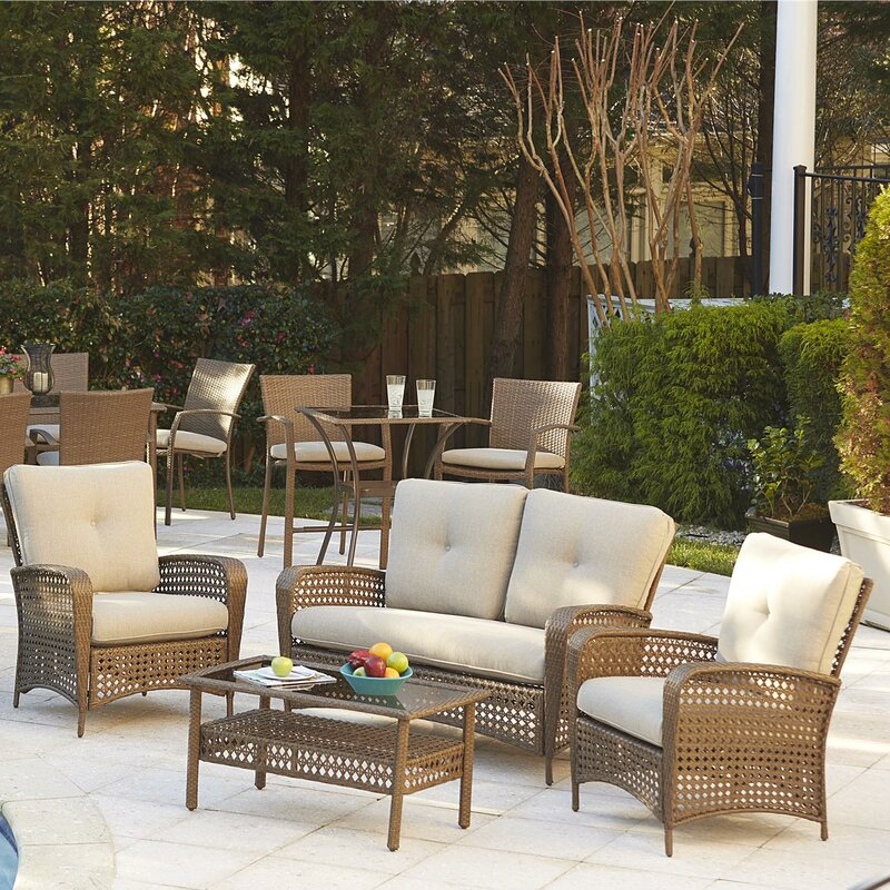 Terrific Edwards 4 Piece Rattan Sofa Seating Group With Cushions Home Interior And Landscaping Ferensignezvosmurscom