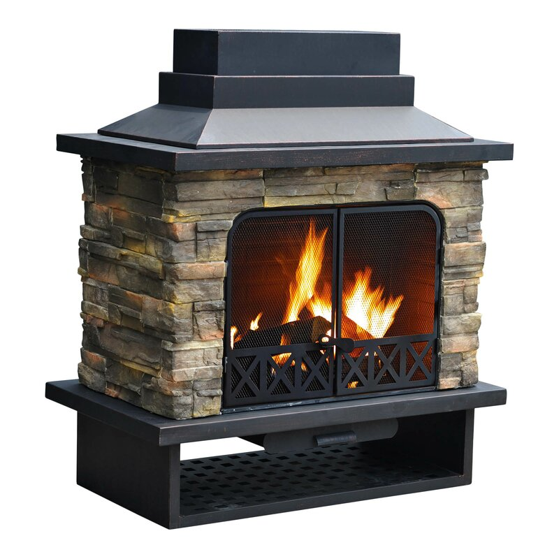 Sunjoy Felicia Steel Wood Burning Outdoor fireplace & Reviews ...