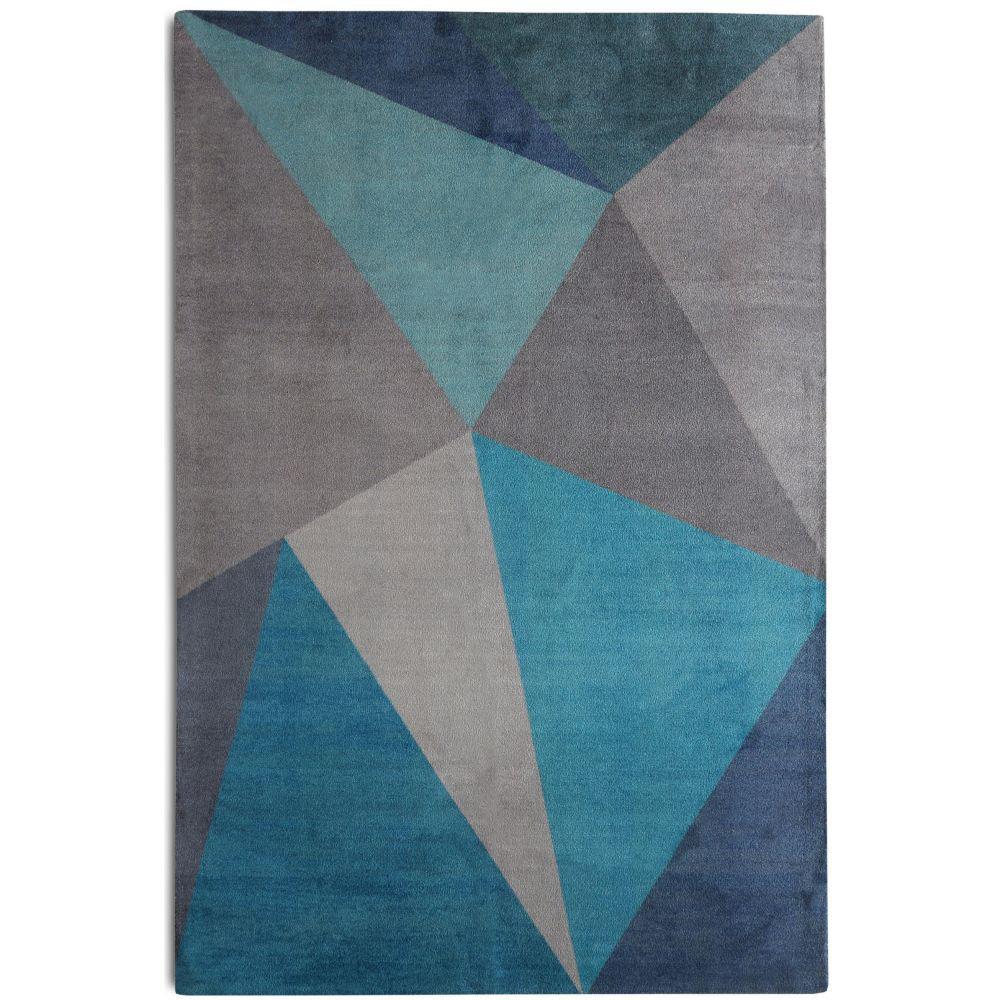 Bronx Blue Bedroom Project: Ivy Bronx Bovey Geometric Blue/Gray Area Rug