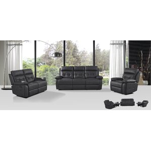 3 Piece Leather Living Room Set by Attraction Design Home