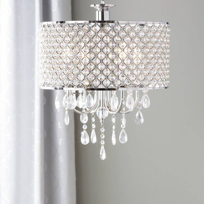 Aurore 4 Light LED Crystal Chandelier Willa Arlo