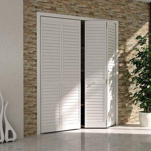 Louvered Pine Wood Painted Plantation Bi-Fold Door & Interior Bifold French Doors | Wayfair