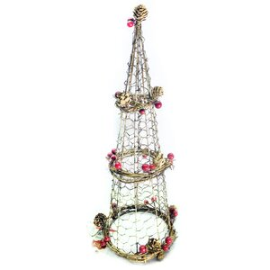 Christmas Rattan Light-up Cone Tree Topper
