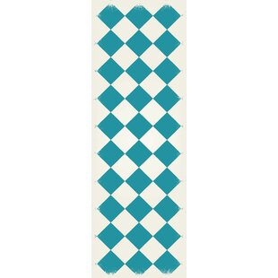 Online Reviews Wendland Diamond European Design Teal/White Indoor/Outdoor Area Rug By Winston Porter