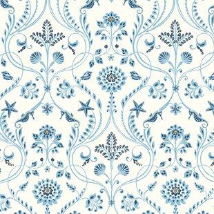 Blue Damask Wallpaper Youll Love
