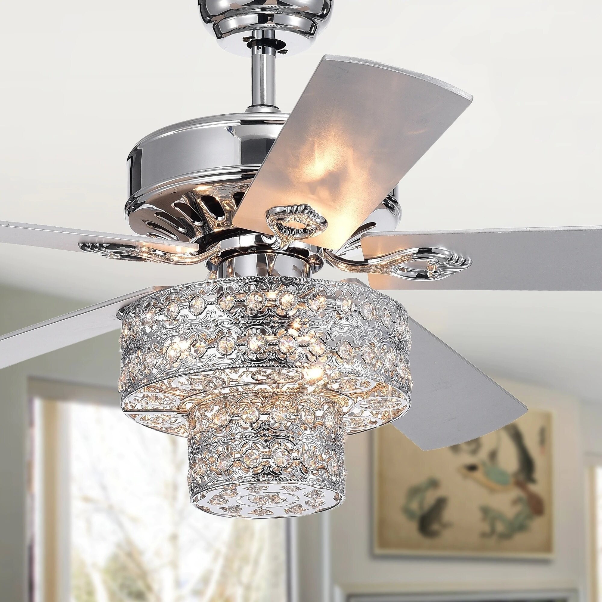 Rosdorf park 52 princess chandelier 5 blade ceiling fan with remote wayfair
