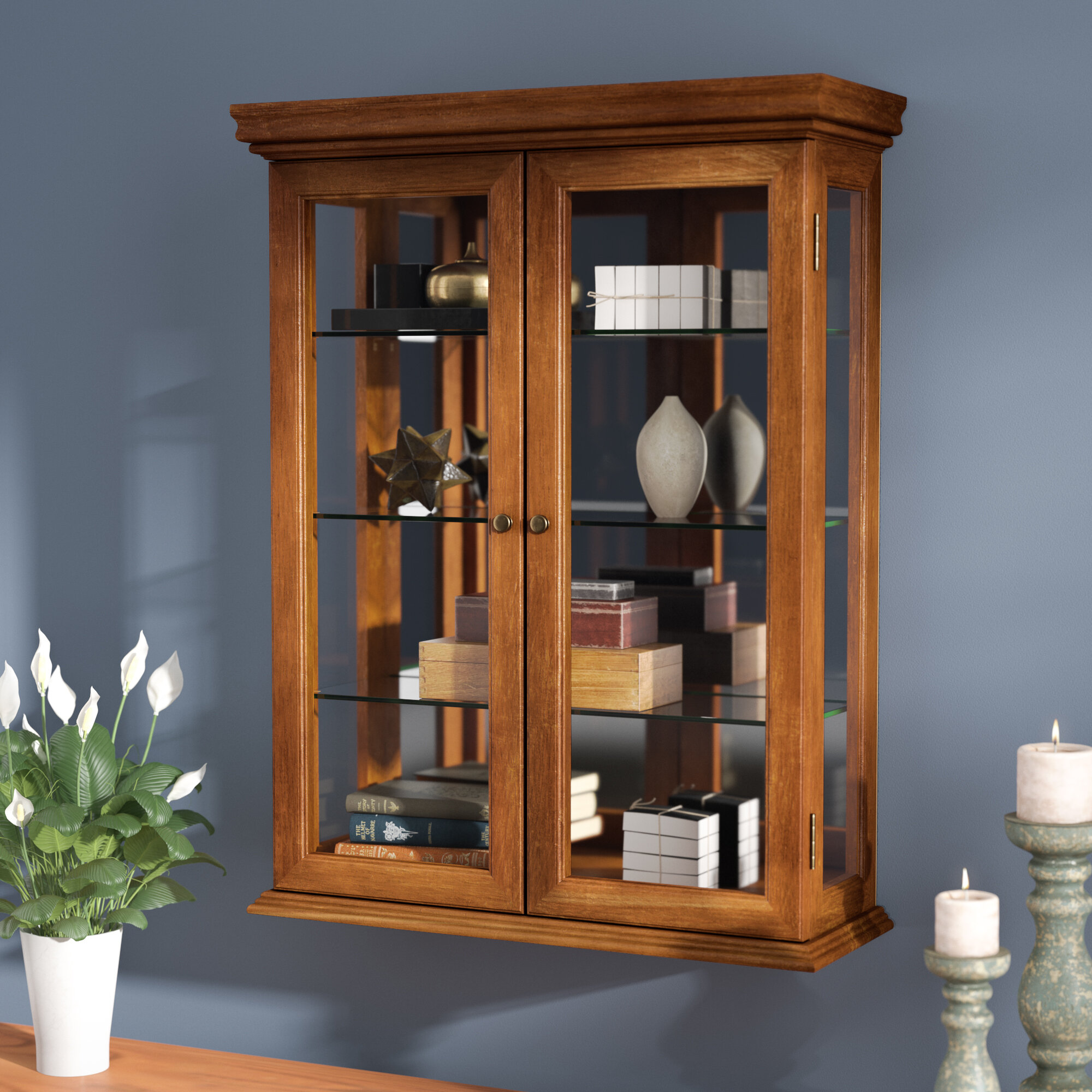 Charlton Home Cette Wall Mounted Curio Cabinet Reviews Wayfair