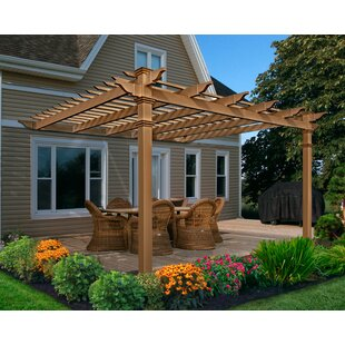Kennedy 12 Ft. W x 12 Ft. D Manufactured Wood Pergola  sc 1 st  Wayfair : pergola on patio - thejasonspencertrust.org
