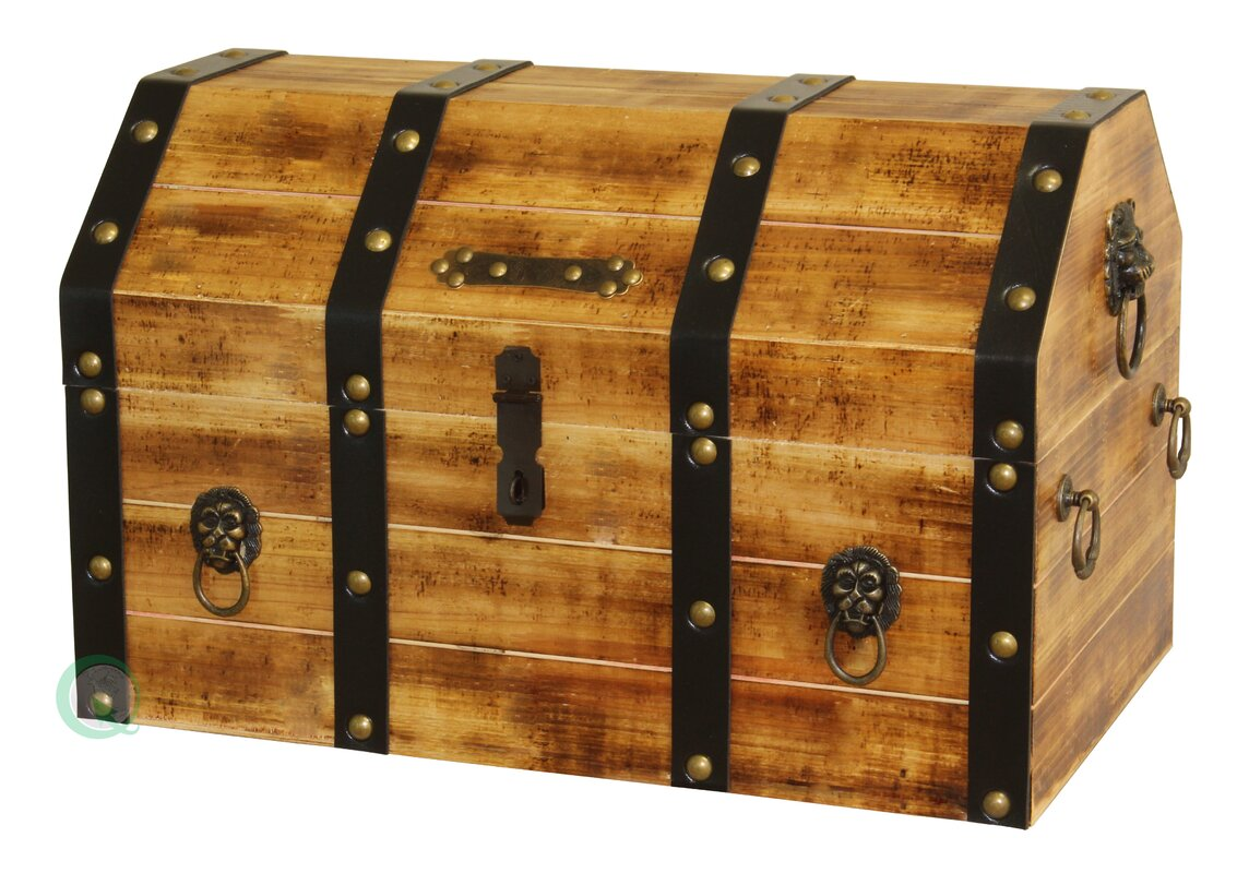 quickway imports large wooden pirate lockable trunk with lion