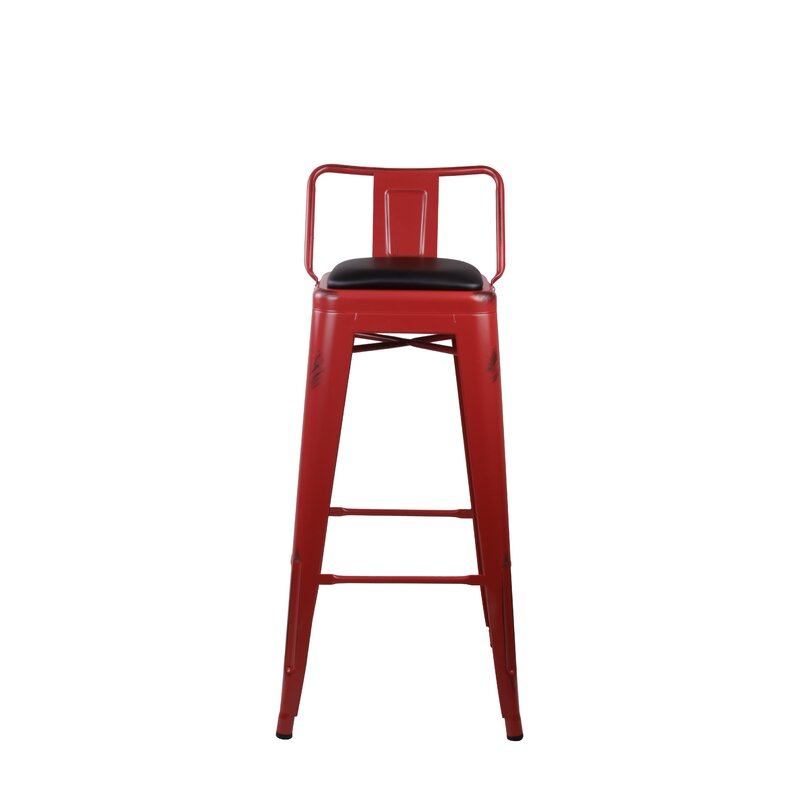 17 Stories Alric Low Back Metal 30 Bar Stool Wayfair